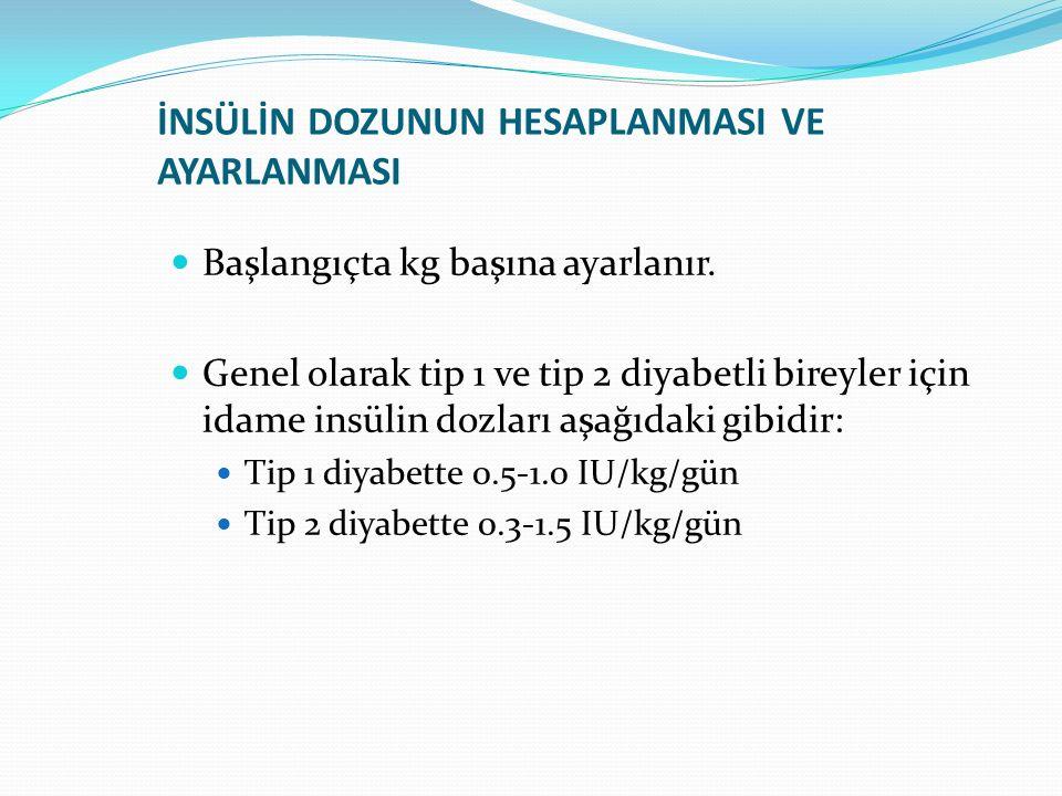 İNSÜLİN DOZUNUN HESAPLANMASI VE AYARLANMASI Başlangıçta kg başına ayarlanır. Genel olarak tip 1 ve tip 2 diyabetli bireyler için idame insülin dozları