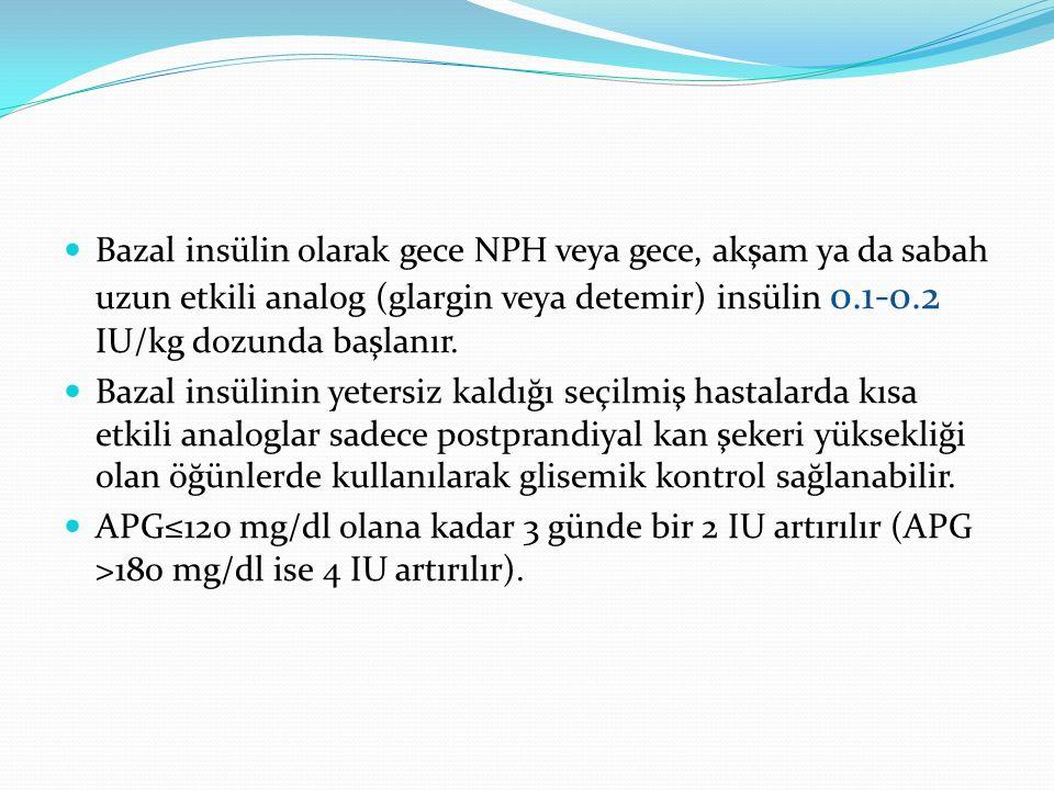 Bazal insülin olarak gece NPH veya gece, akşam ya da sabah uzun etkili analog (glargin veya detemir) insülin 0.1-0.2 IU/kg dozunda başlanır. Bazal ins