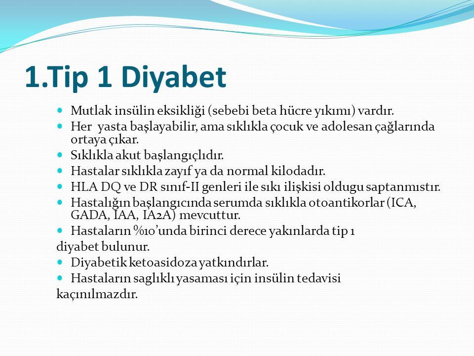 1.Tip 1 Diyabet Mutlak insülin eksikliği (sebebi beta hücre yıkımı) vardır. Her yasta başlayabilir, ama sıklıkla çocuk ve adolesan çağlarında ortaya ç
