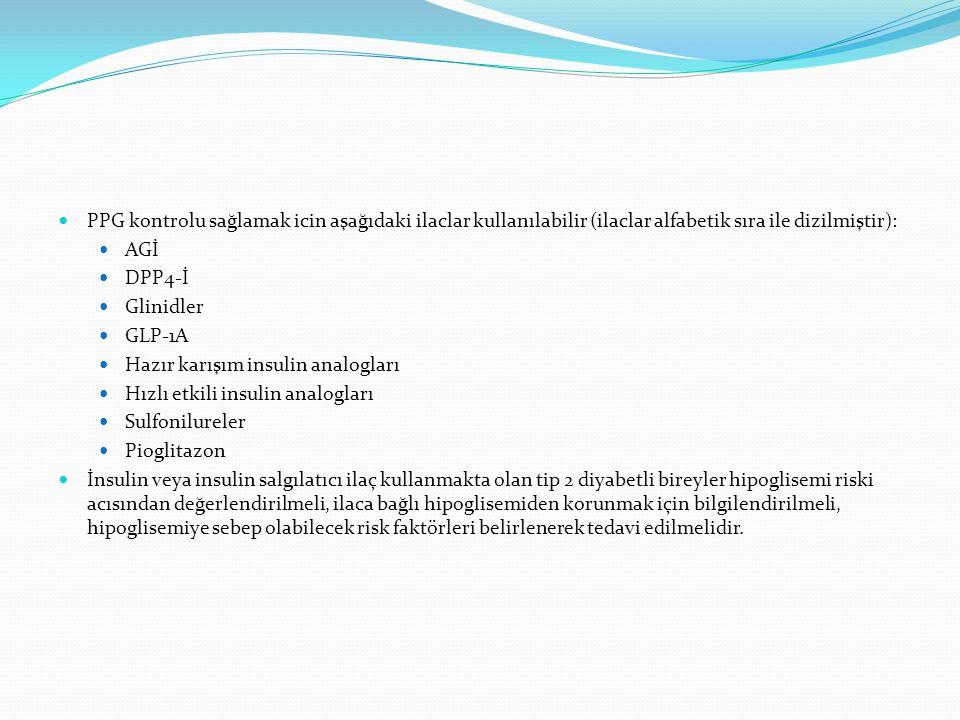 PPG kontrolu sağlamak icin aşağıdaki ilaclar kullanılabilir (ilaclar alfabetik sıra ile dizilmiştir): AGİ DPP4-İ Glinidler GLP-1A Hazır karışım insuli