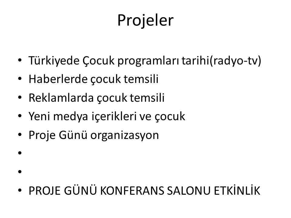 Projeler Türkiyede Çocuk programları tarihi(radyo-tv) Haberlerde çocuk temsili Reklamlarda çocuk temsili Yeni medya içerikleri ve çocuk Proje Günü org