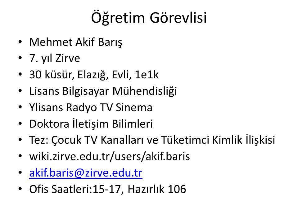 Öğretim Görevlisi Mehmet Akif Barış 7. yıl Zirve 30 küsür, Elazığ, Evli, 1e1k Lisans Bilgisayar Mühendisliği Ylisans Radyo TV Sinema Doktora İletişim