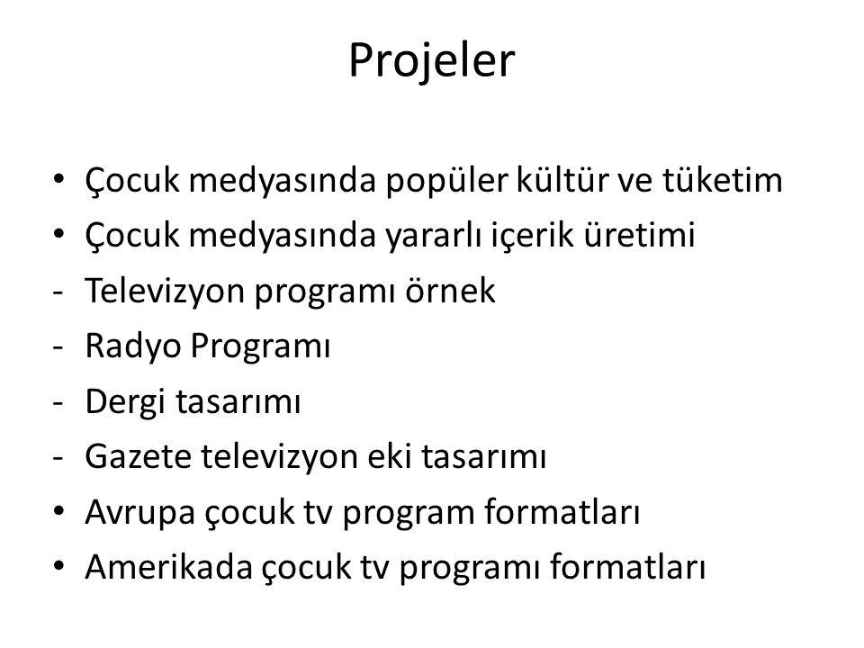 Projeler Türkiyede Çocuk programları tarihi(radyo-tv) Haberlerde çocuk temsili Reklamlarda çocuk temsili Yeni medya içerikleri ve çocuk Proje Günü organizasyon PROJE GÜNÜ KONFERANS SALONU ETKİNLİK