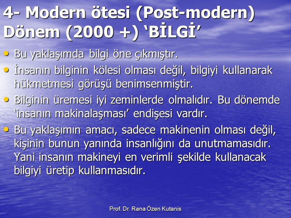 Prof. Dr. Rana Özen Kutanis 4- Modern ötesi (Post-modern) Dönem (2000 +) 'BİLGİ' Bu yaklaşımda bilgi öne çıkmıştır. Bu yaklaşımda bilgi öne çıkmıştır.