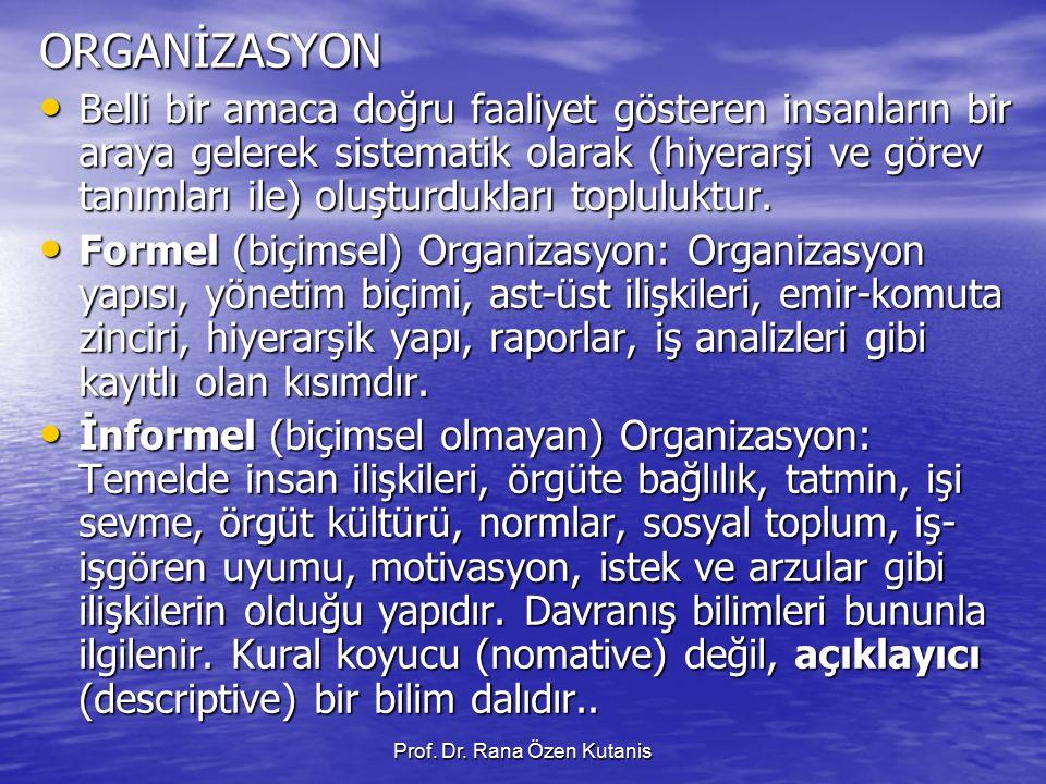 Prof. Dr. Rana Özen Kutanis ORGANİZASYON Belli bir amaca doğru faaliyet gösteren insanların bir araya gelerek sistematik olarak (hiyerarşi ve görev ta