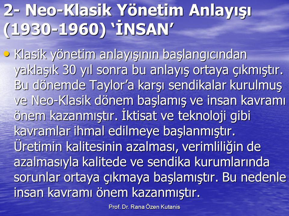 Prof. Dr. Rana Özen Kutanis 2- Neo-Klasik Yönetim Anlayışı (1930-1960) 'İNSAN' Klasik yönetim anlayışının başlangıcından yaklaşık 30 yıl sonra bu anla