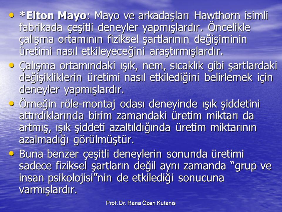 Prof. Dr. Rana Özen Kutanis *Elton Mayo: Mayo ve arkadaşları Hawthorn isimli fabrikada çeşitli deneyler yapmışlardır. Öncelikle çalışma ortamının fizi
