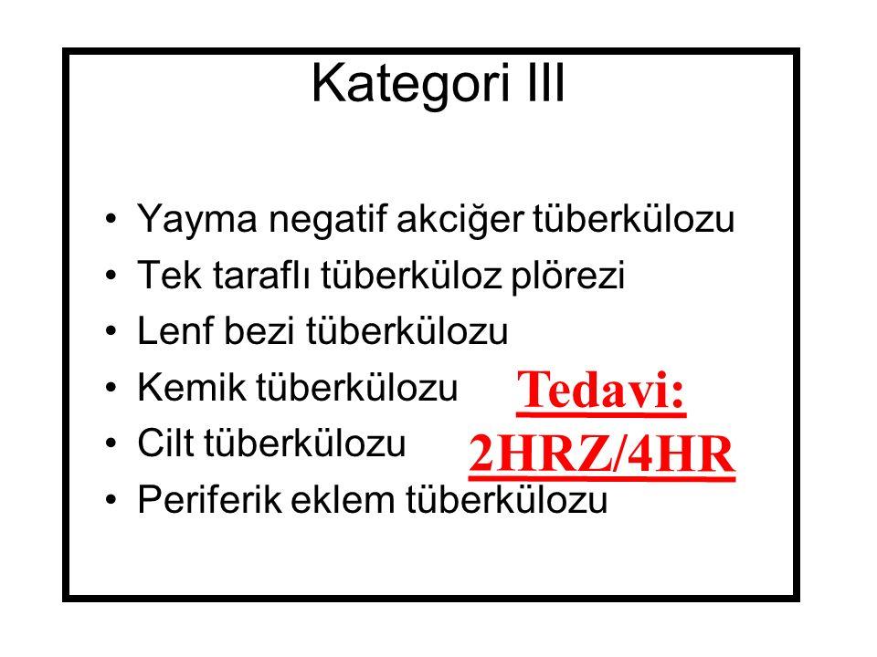 Kategori III Yayma negatif akciğer tüberkülozu Tek taraflı tüberküloz plörezi Lenf bezi tüberkülozu Kemik tüberkülozu Cilt tüberkülozu Periferik eklem tüberkülozu Tedavi: 2HRZ/4HR