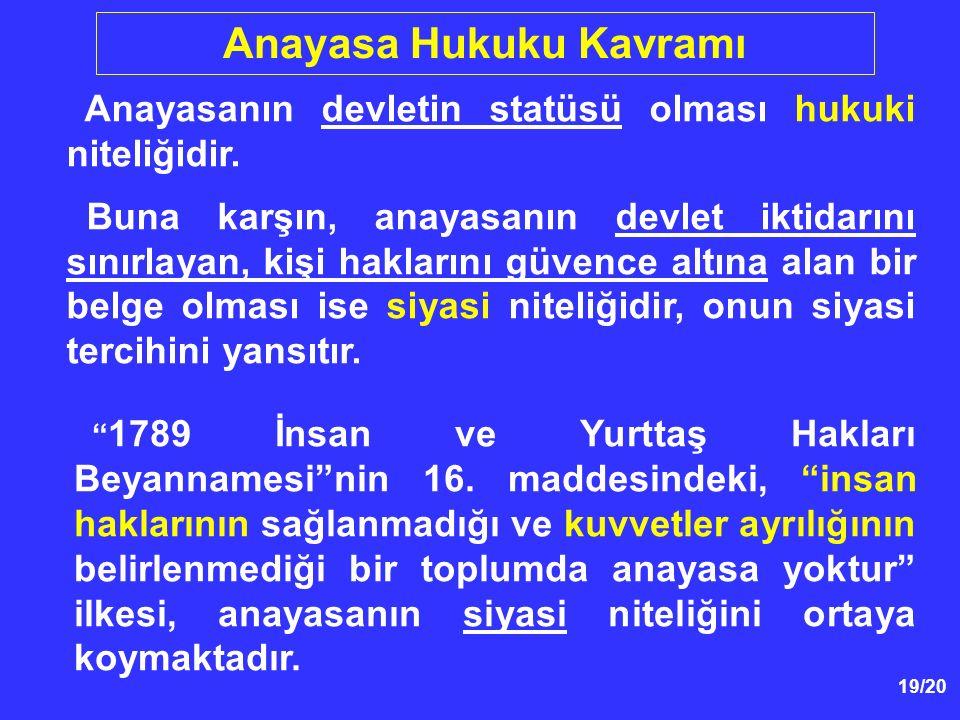 """19/20 Anayasa Hukuku Kavramı """" 1789 İnsan ve Yurttaş Hakları Beyannamesi""""nin 16. maddesindeki, """"insan haklarının sağlanmadığı ve kuvvetler ayrılığının"""