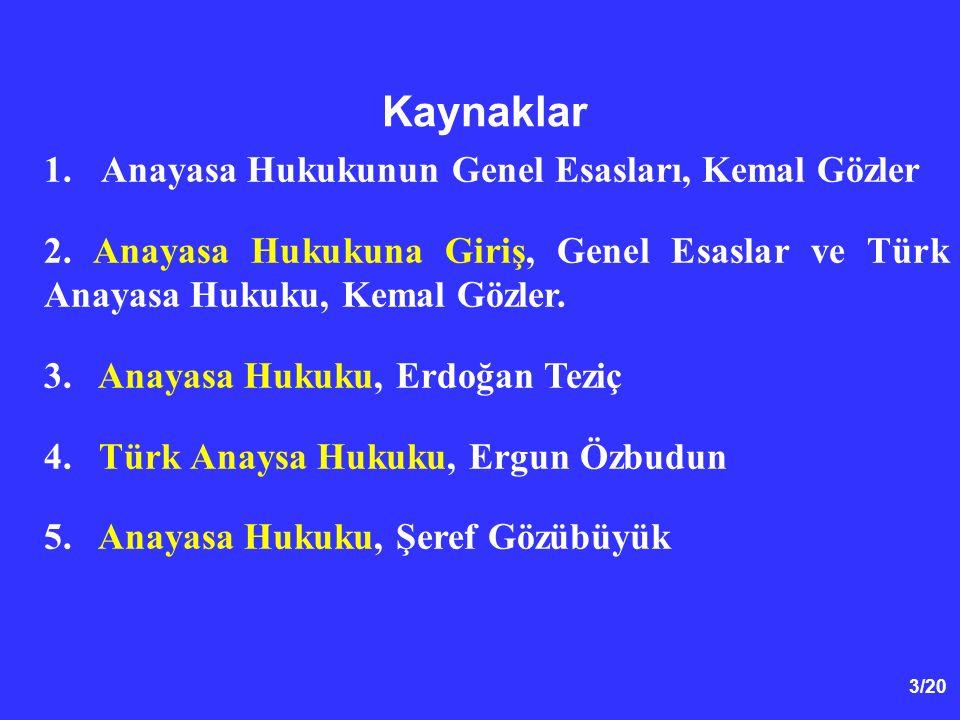 14/20 Anayasa Hukuku Bilgi Kaynakları İnternet Kaynakları - Türk Anayasa Hukuku Sitesi (www.anayasa.gen.tr).- - Yaşayan Anayasa (www.yasayananayasa.ankara.