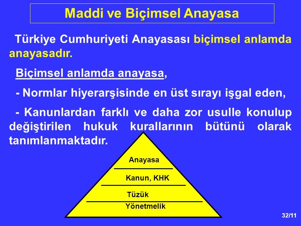 32/11 Anayasa Kanun, KHK Yönetmelik Tüzük Maddi ve Biçimsel Anayasa Türkiye Cumhuriyeti Anayasası biçimsel anlamda anayasadır. Biçimsel anlamda anayas
