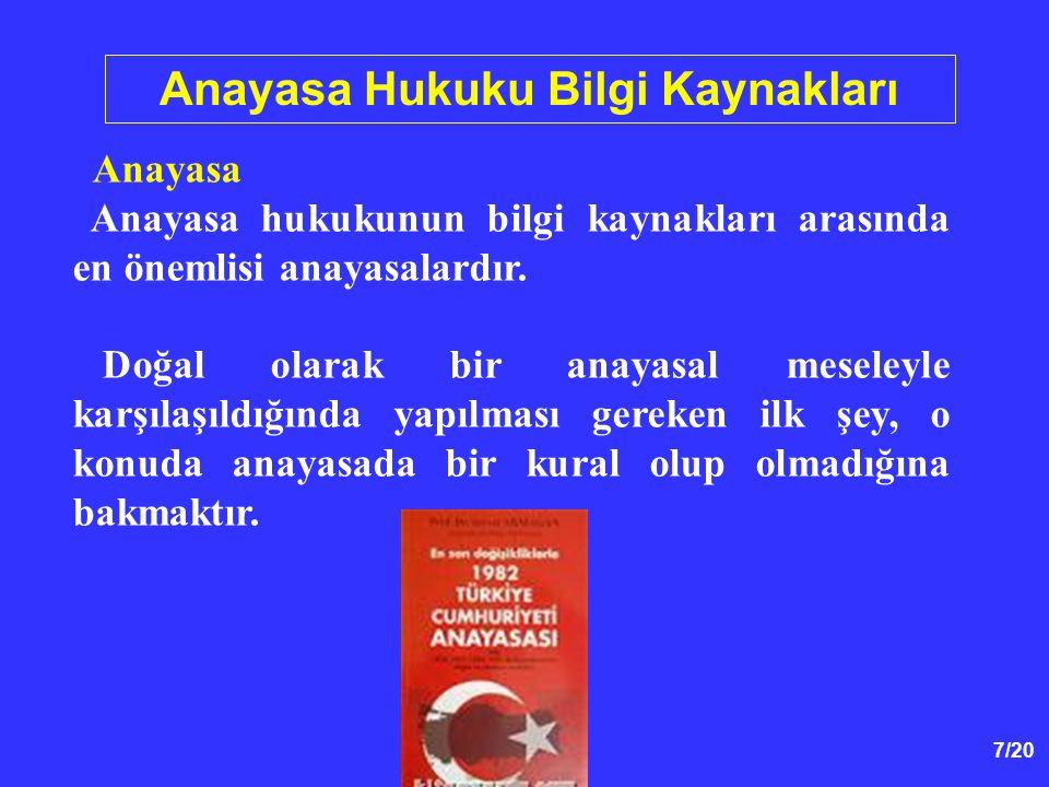 7/20 Anayasa Hukuku Bilgi Kaynakları Anayasa Anayasa hukukunun bilgi kaynakları arasında en önemlisi anayasalardır. Doğal olarak bir anayasal meseleyl