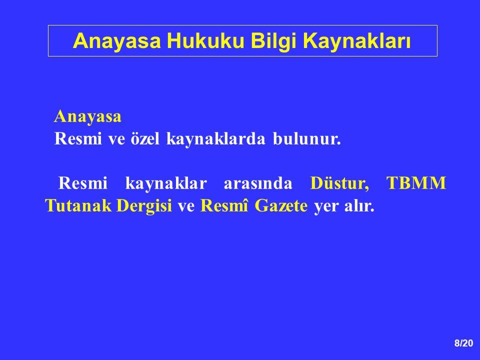 19/20 Anayasa Hukuku Kavramı 1789 İnsan ve Yurttaş Hakları Beyannamesi nin 16.