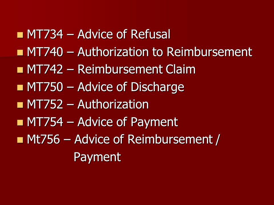 MT734 – Advice of Refusal MT734 – Advice of Refusal MT740 – Authorization to Reimbursement MT740 – Authorization to Reimbursement MT742 – Reimbursemen