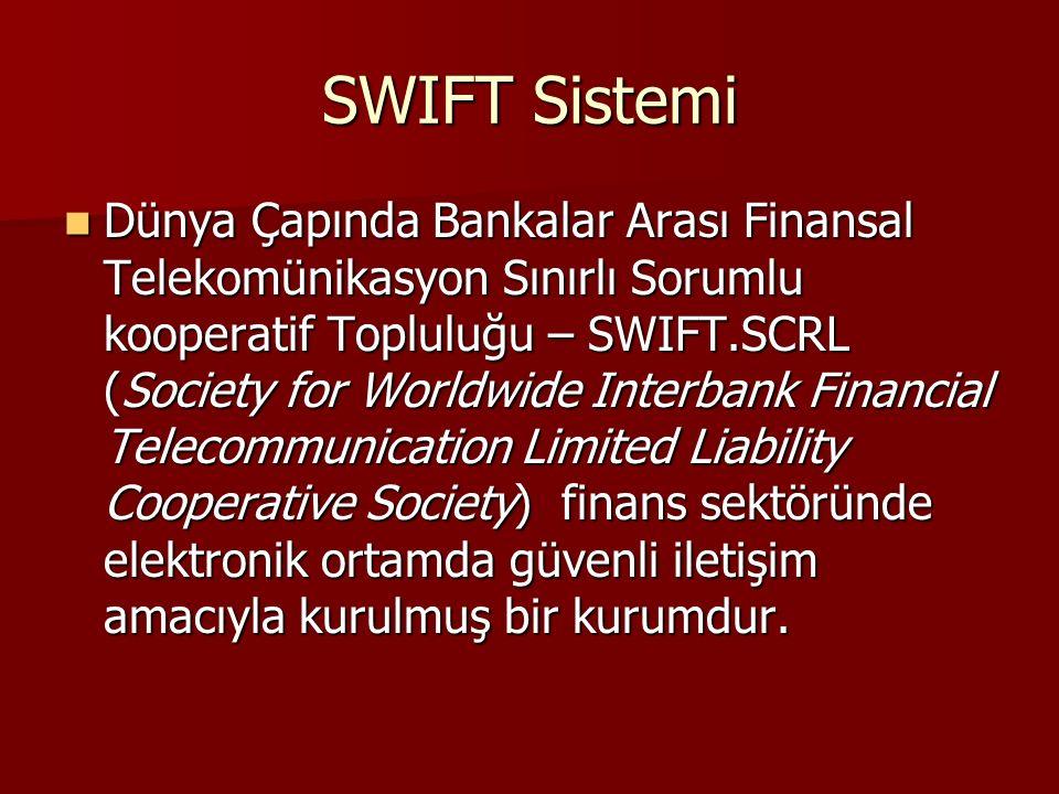 SWIFT Sistemi Dünya Çapında Bankalar Arası Finansal Telekomünikasyon Sınırlı Sorumlu kooperatif Topluluğu – SWIFT.SCRL (Society for Worldwide Interban
