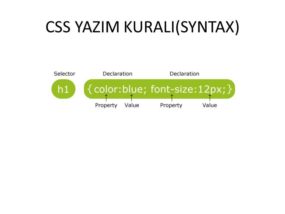 CSS YORUM SATIR(/*……..*/) /*BURASI YORUM SATIRI*/ p { text-align:center; /*BURASI DA BAŞKA BİR YORUM SATIRI*/ color:black; font-family:arial; }