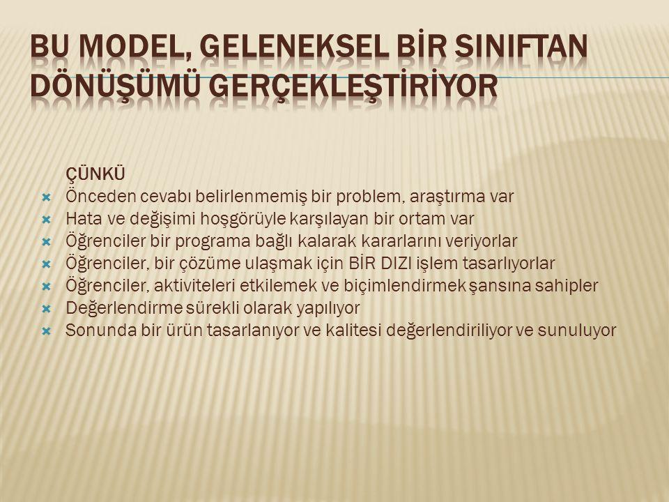  Proje tabanlı öğrenme; öğrencilerin veri analizi, problem çözme, karar verme vb.