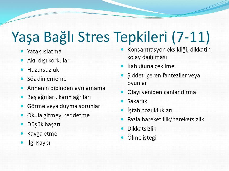 Yaşa Bağlı Stres Tepkileri (7-11) Yatak ıslatma Akıl dışı korkular Huzursuzluk Söz dinlememe Annenin dibinden ayrılamama Baş ağrıları, karın ağrıları