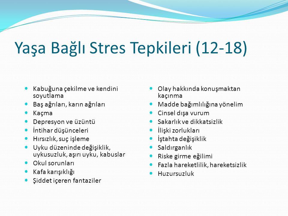 Yaşa Bağlı Stres Tepkileri (12-18) Kabuğuna çekilme ve kendini soyutlama Baş ağrıları, karın ağrıları Kaçma Depresyon ve üzüntü İntihar düşünceleri Hı