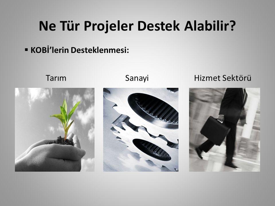 Ne Tür Projeler Destek Alabilir? TarımSanayiHizmet Sektörü  KOBİ'lerin Desteklenmesi: