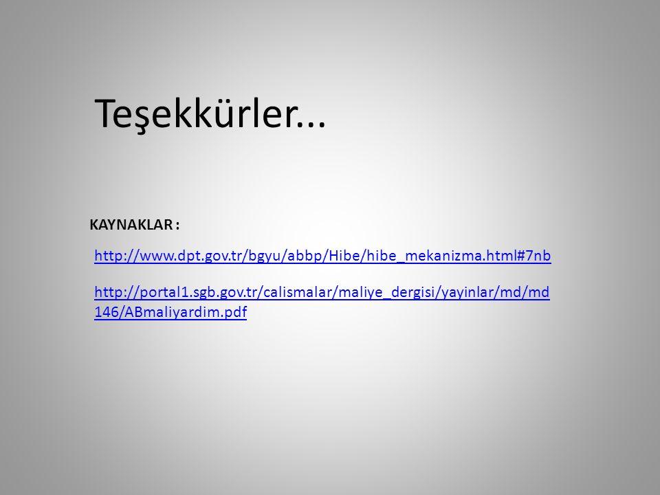 Teşekkürler... KAYNAKLAR : http://www.dpt.gov.tr/bgyu/abbp/Hibe/hibe_mekanizma.html#7nb http://portal1.sgb.gov.tr/calismalar/maliye_dergisi/yayinlar/m