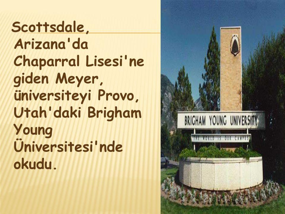 Scottsdale, Arizana'da Chaparral Lisesi'ne giden Meyer, üniversiteyi Provo, Utah'daki Brigham Young Üniversitesi'nde okudu.