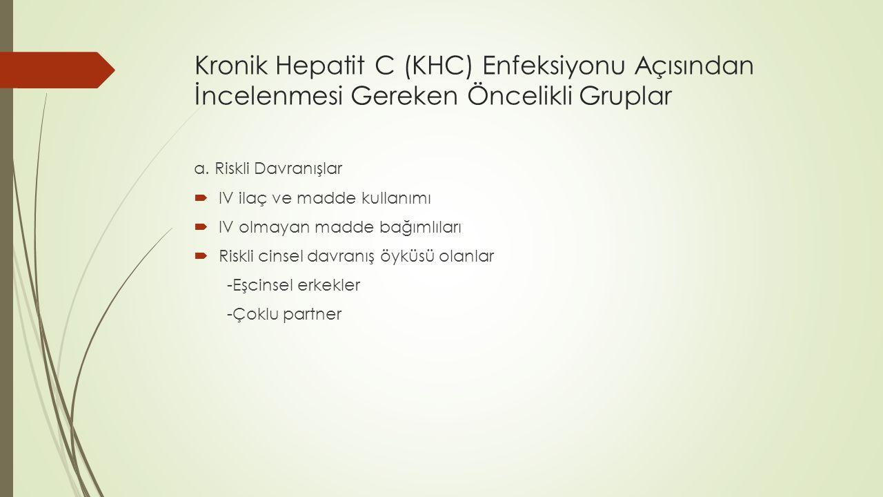 Kronik Hepatit C (KHC) Enfeksiyonu Açısından İncelenmesi Gereken Öncelikli Gruplar a. Riskli Davranışlar  IV ilaç ve madde kullanımı  IV olmayan mad