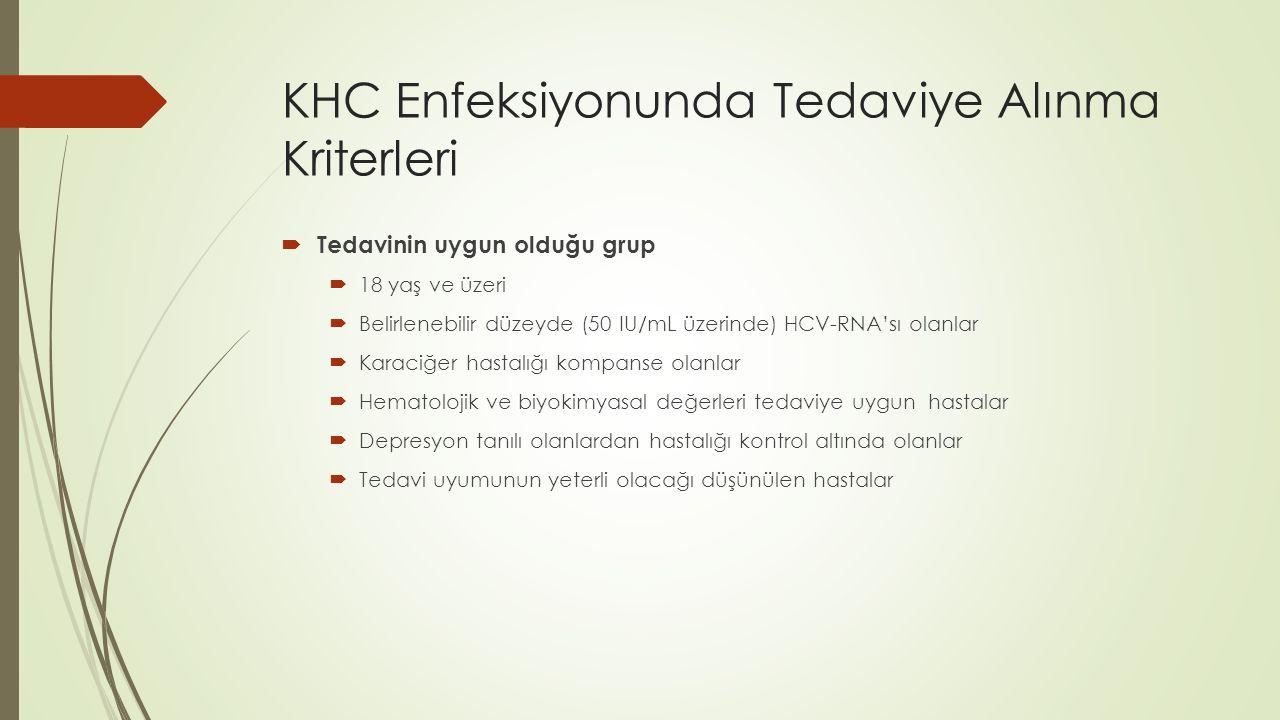 KHC Enfeksiyonunda Tedaviye Alınma Kriterleri  Tedavinin uygun olduğu grup  18 yaş ve üzeri  Belirlenebilir düzeyde (50 IU/mL üzerinde) HCV-RNA'sı