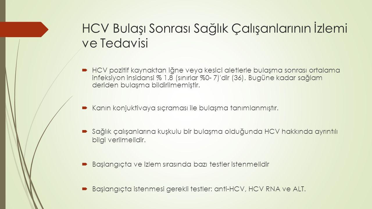HCV Bulaşı Sonrası Sağlık Çalışanlarının İzlemi ve Tedavisi  HCV pozitif kaynaktan iğne veya kesici aletlerle bulaşma sonrası ortalama infeksiyon ins