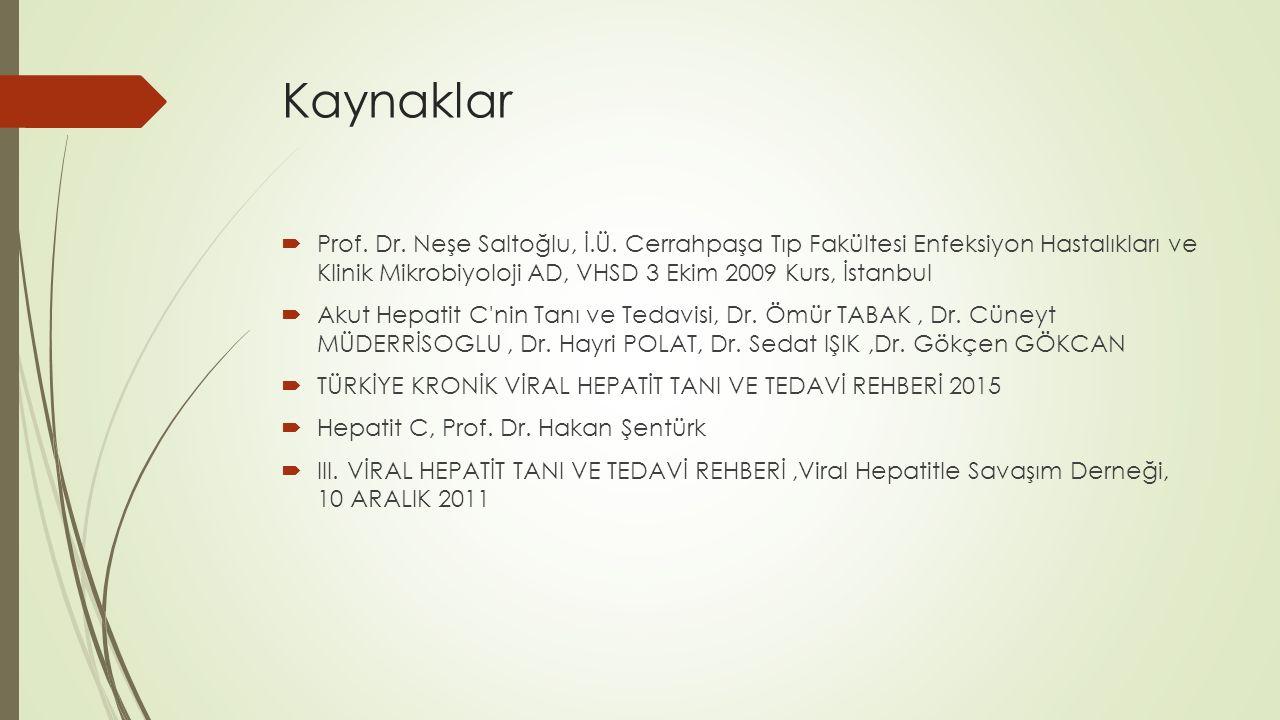 Kaynaklar  Prof. Dr. Neşe Saltoğlu, İ.Ü. Cerrahpaşa Tıp Fakültesi Enfeksiyon Hastalıkları ve Klinik Mikrobiyoloji AD, VHSD 3 Ekim 2009 Kurs, İstanbul