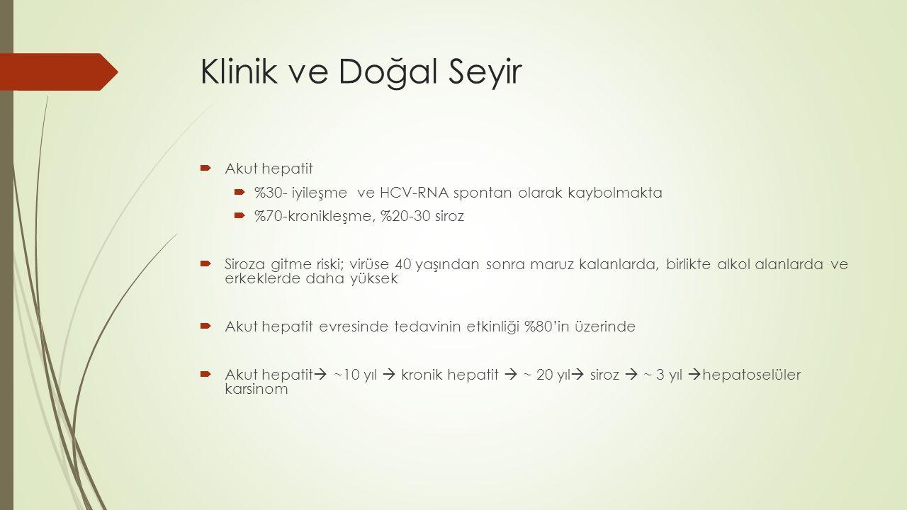 Akut Hepatit C Tanısı Akut HCV Tanı Kriterleri  Hikayede 2-12 hafta içinde kuşkulu HCV bulaşı  ALT seviyesinde en az 10 kat ve üzeri artış  Total bilirubin seviyesindeki artış +/-  Anti-HCV +/-  Anti- HCV negatif iken pozitifleşmesi önemli  Hepatit C kesin tanısı serumda HCV RNA pozitifliği ile konulmalı