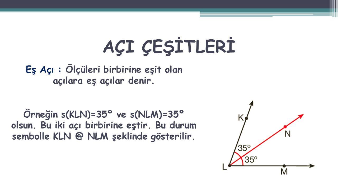 AÇI ÇEŞİTLERİ Eş Açı : Ölçüleri birbirine eşit olan açılara eş açılar denir. Örneğin s(KLN)=35º ve s(NLM)=35º olsun. Bu iki açı birbirine eştir. Bu du