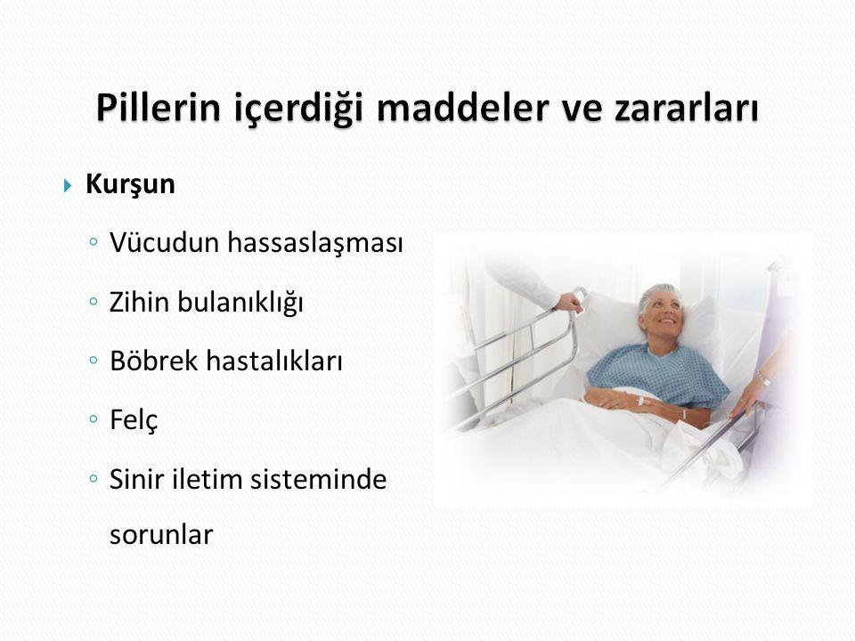  Kurşun ◦ Vücudun hassaslaşması ◦ Zihin bulanıklığı ◦ Böbrek hastalıkları ◦ Felç ◦ Sinir iletim sisteminde sorunlar