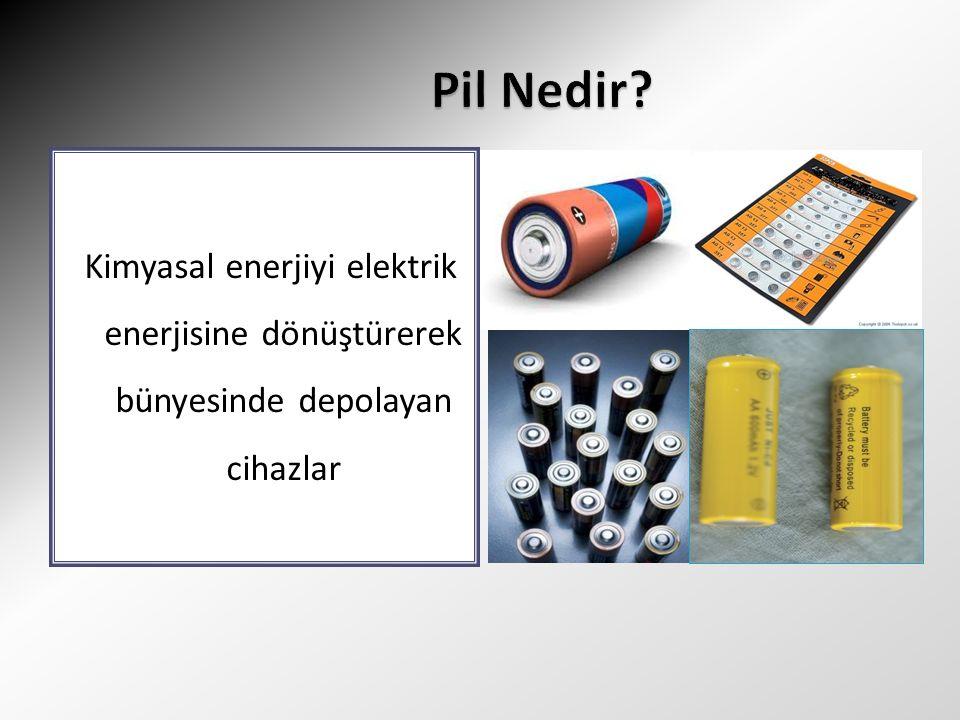 Kimyasal enerjiyi elektrik enerjisine dönüştürerek bünyesinde depolayan cihazlar