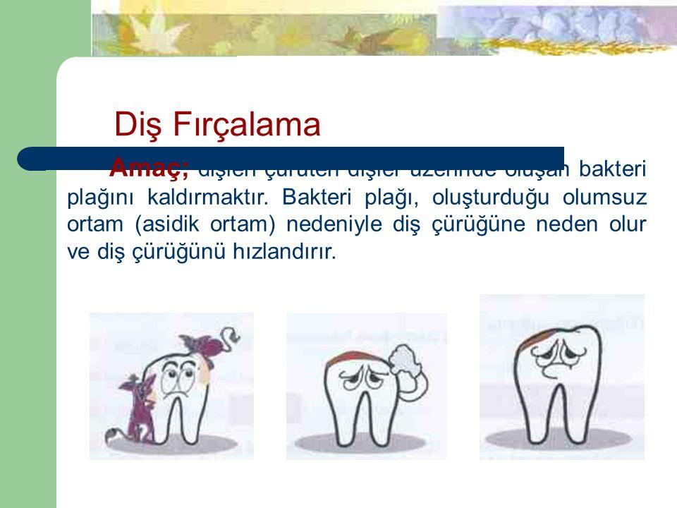 Diş Fırçalama Amaç; dişleri çürüten dişler üzerinde oluşan bakteri plağını kaldırmaktır.