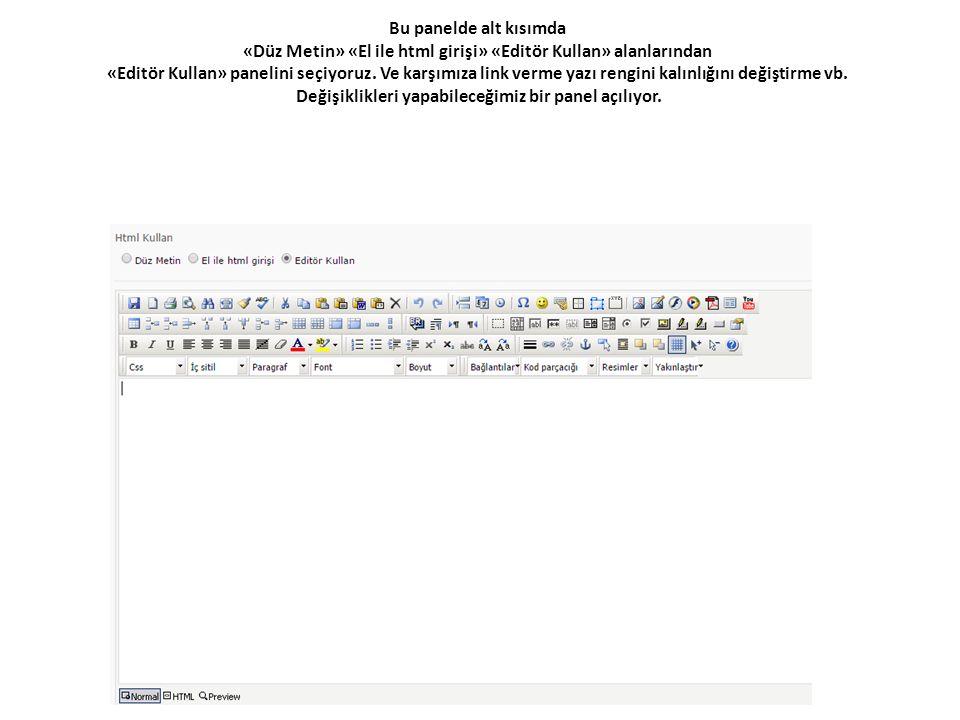 Bu panelde alt kısımda «Düz Metin» «El ile html girişi» «Editör Kullan» alanlarından «Editör Kullan» panelini seçiyoruz. Ve karşımıza link verme yazı