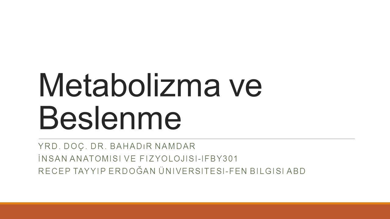 Metabolizma ve Beslenme YRD. DOÇ. DR. BAHADıR NAMDAR İNSAN ANATOMISI VE FIZYOLOJISI-IFBY301 RECEP TAYYIP ERDOĞAN ÜNIVERSITESI-FEN BILGISI ABD