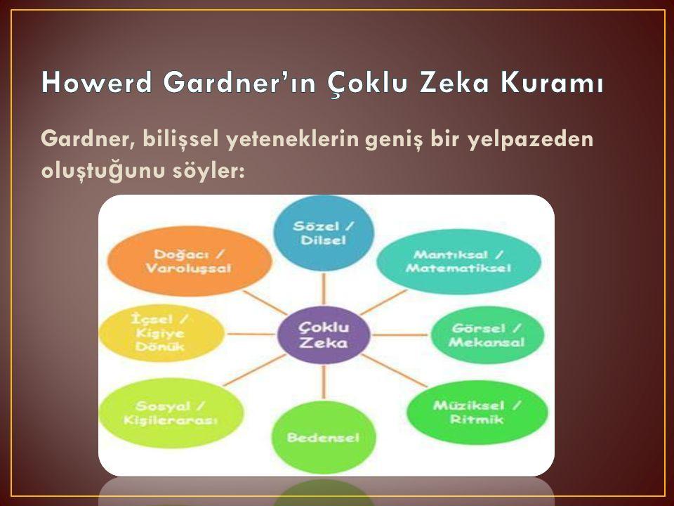 Gardner, bilişsel yeteneklerin geniş bir yelpazeden oluştu ğ unu söyler: