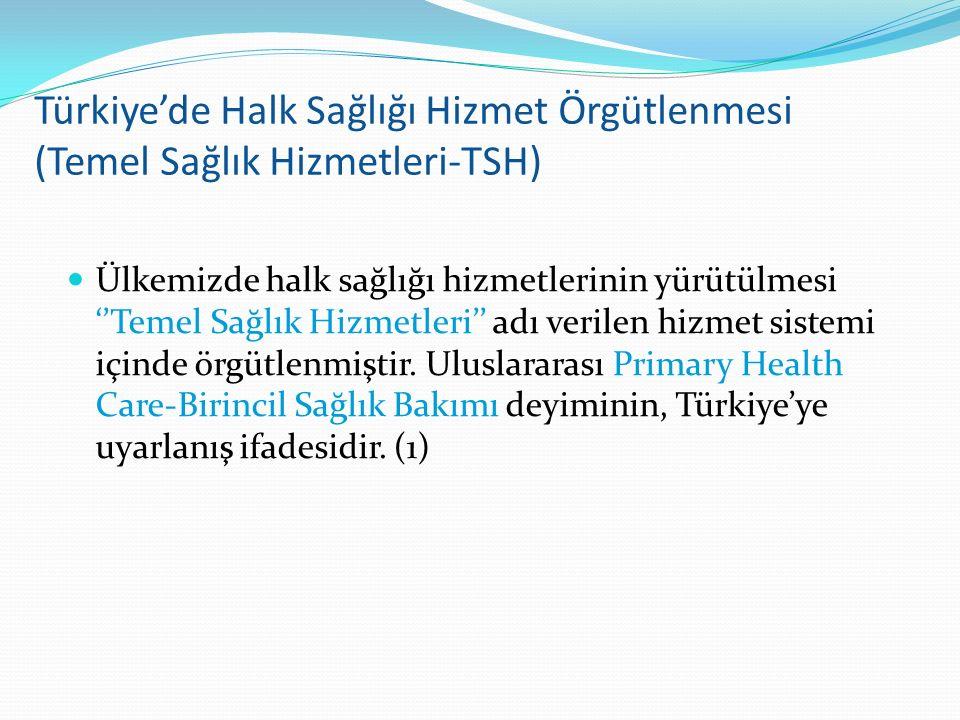 Türkiye'de Halk Sağlığı Hizmet Örgütlenmesi (Temel Sağlık Hizmetleri-TSH) Ülkemizde halk sağlığı hizmetlerinin yürütülmesi ''Temel Sağlık Hizmetleri''