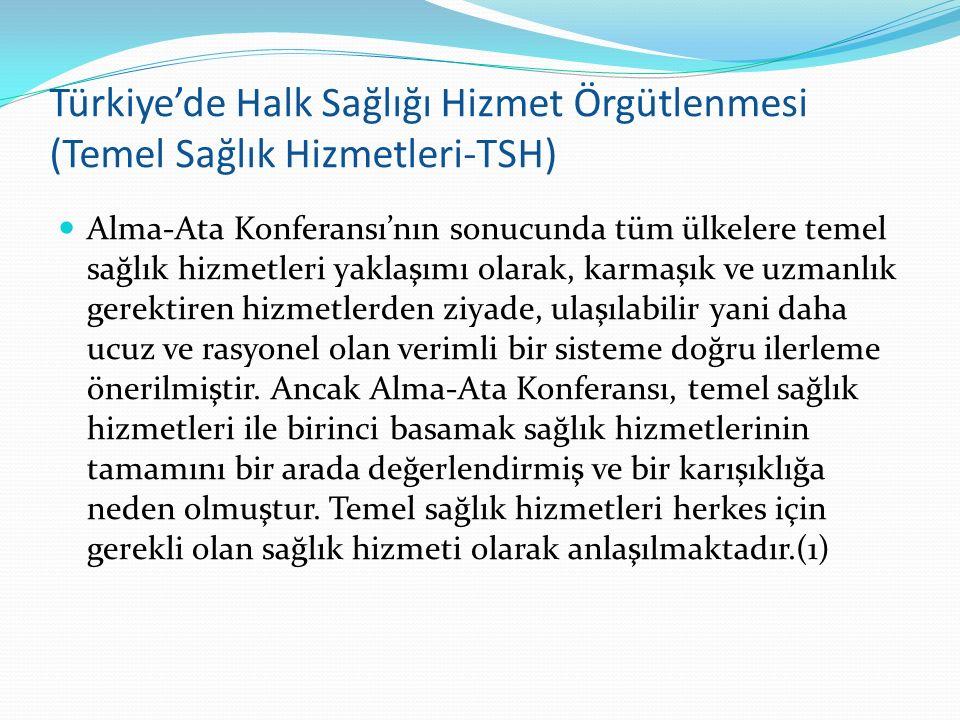 Türkiye'de Halk Sağlığı Hizmet Örgütlenmesi (Temel Sağlık Hizmetleri-TSH) Alma-Ata Konferansı'nın sonucunda tüm ülkelere temel sağlık hizmetleri yakla