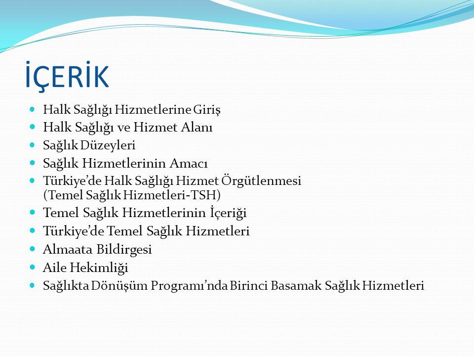 İÇERİK Halk Sağlığı Hizmetlerine Giriş Halk Sağlığı ve Hizmet Alanı Sağlık Düzeyleri Sağlık Hizmetlerinin Amacı Türkiye'de Halk Sağlığı Hizmet Örgütle