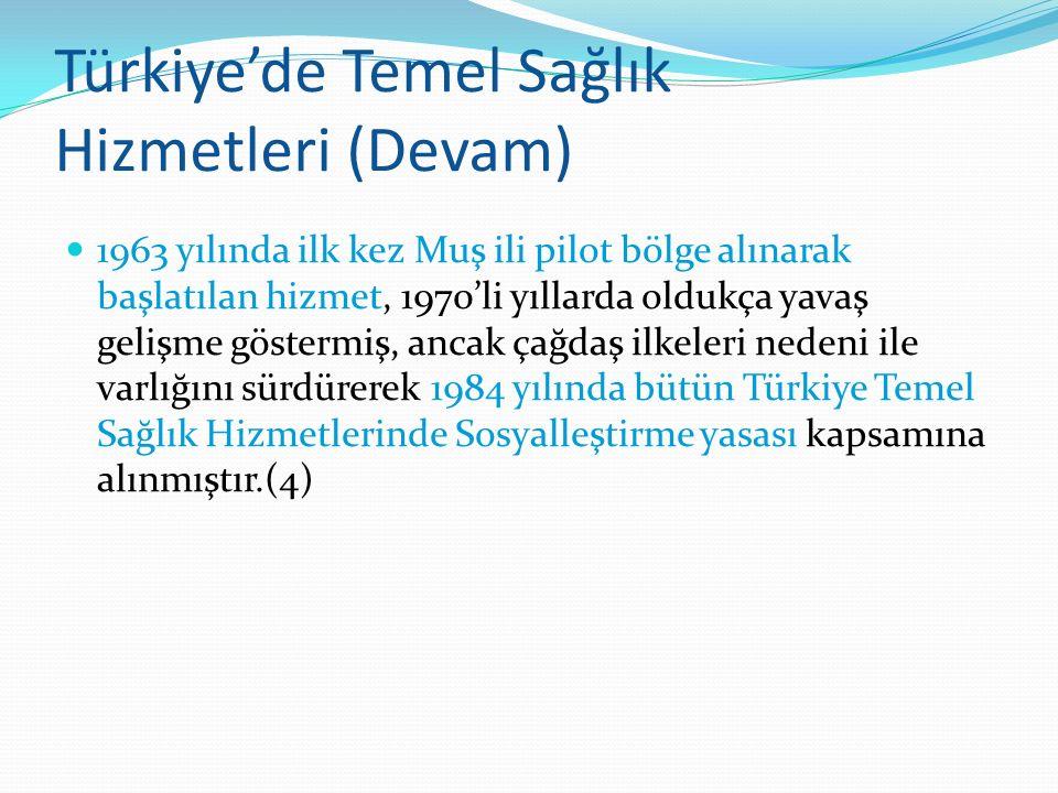 Türkiye'de Temel Sağlık Hizmetleri (Devam) 1963 yılında ilk kez Muş ili pilot bölge alınarak başlatılan hizmet, 1970'li yıllarda oldukça yavaş gelişme
