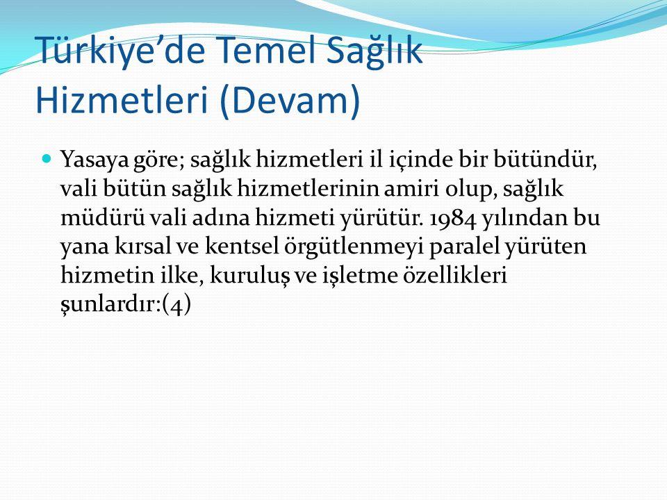 Türkiye'de Temel Sağlık Hizmetleri (Devam) Yasaya göre; sağlık hizmetleri il içinde bir bütündür, vali bütün sağlık hizmetlerinin amiri olup, sağlık m