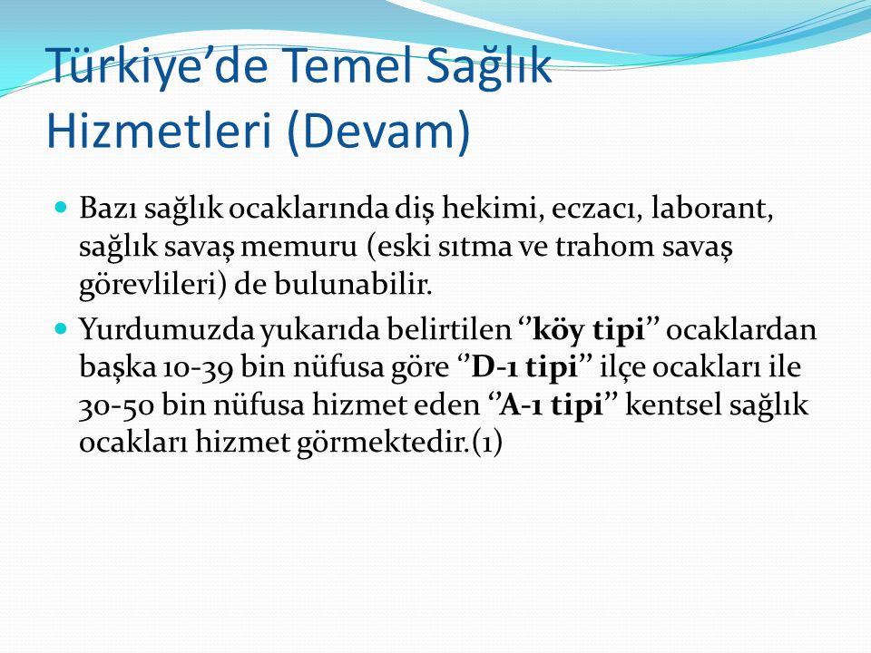 Türkiye'de Temel Sağlık Hizmetleri (Devam) Bazı sağlık ocaklarında diş hekimi, eczacı, laborant, sağlık savaş memuru (eski sıtma ve trahom savaş görev