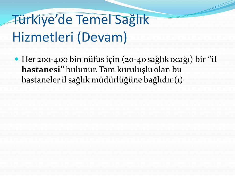 Türkiye'de Temel Sağlık Hizmetleri (Devam) Her 200-400 bin nüfus için (20-40 sağlık ocağı) bir ''il hastanesi'' bulunur. Tam kuruluşlu olan bu hastane