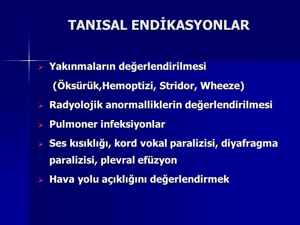 TANISAL ENDİKASYONLAR  Yakınmaların değerlendirilmesi (Öksürük,Hemoptizi, Stridor, Wheeze) (Öksürük,Hemoptizi, Stridor, Wheeze)  Radyolojik anormall
