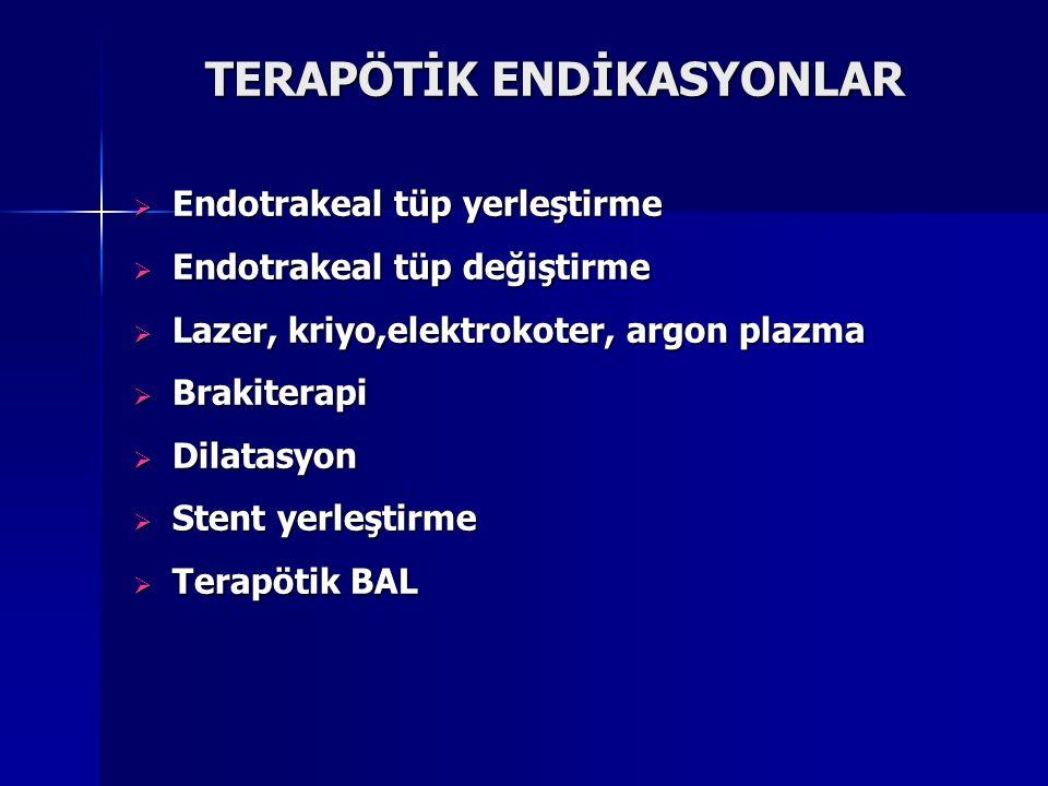 TERAPÖTİK ENDİKASYONLAR  Endotrakeal tüp yerleştirme  Endotrakeal tüp değiştirme  Lazer, kriyo,elektrokoter, argon plazma  Brakiterapi  Dilatasyo