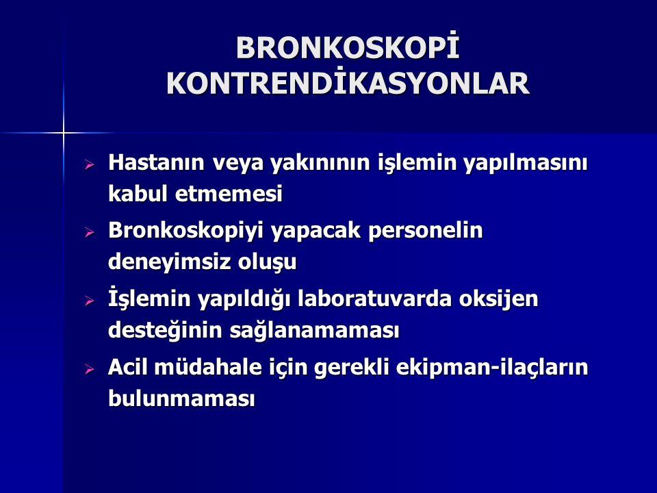 BRONKOSKOPİ KONTRENDİKASYONLAR  Hastanın veya yakınının işlemin yapılmasını kabul etmemesi  Bronkoskopiyi yapacak personelin deneyimsiz oluşu  İşle