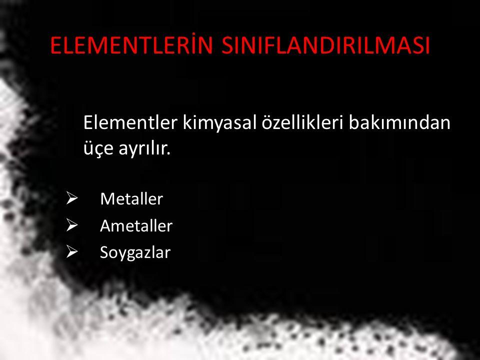 ELEMENTLERİN SINIFLANDIRILMASI Elementler kimyasal özellikleri bakımından üçe ayrılır.