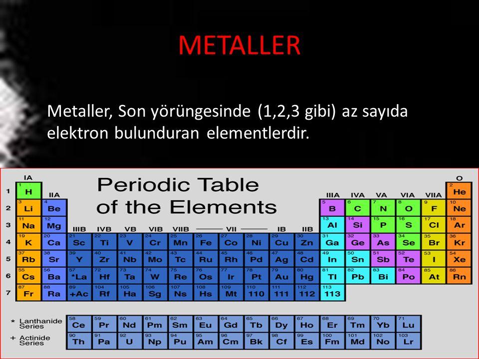 METALLER Metaller, Son yörüngesinde (1,2,3 gibi) az sayıda elektron bulunduran elementlerdir.